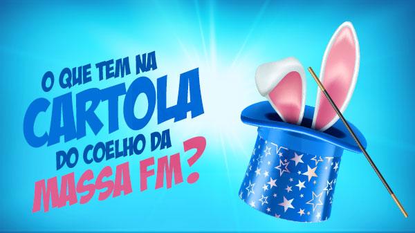 imagem destacada do site com texto O que tem na Cartola do Coelho da Massa FM, clique e saiba como participar
