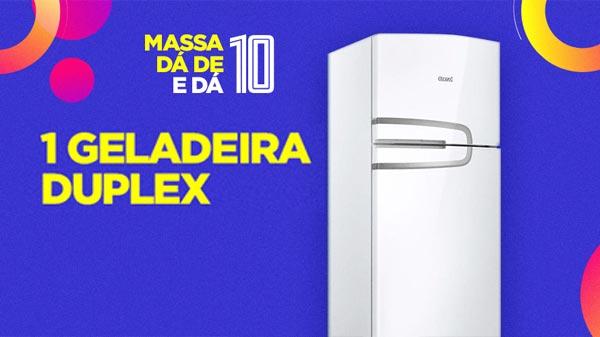 banner promoção massa da de 10, uma geladeira duplex novinha