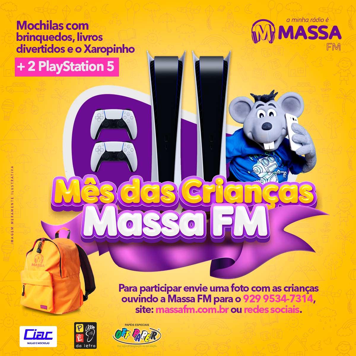 Banner promoção Mês das Crianças na Massa FM